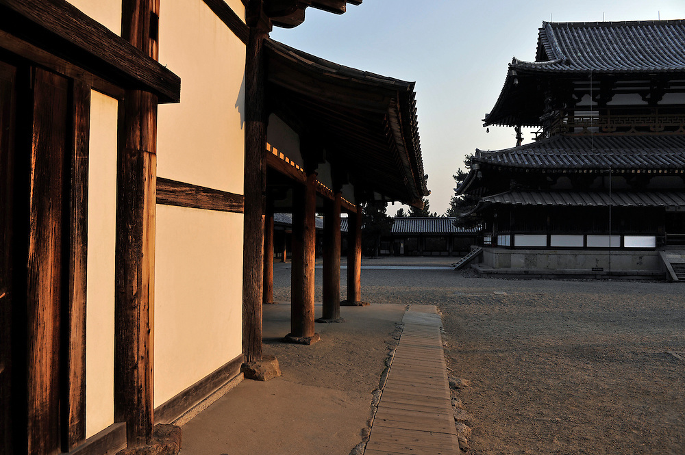 Shoro, the bell house, to the left and main hall to the right..H?ry?-ji is one of Japan's oldest Buddhist temples..Its main hall, five storied pagoda and central gate, dating from the 7th century, are the world's oldest surviving wooden structures.