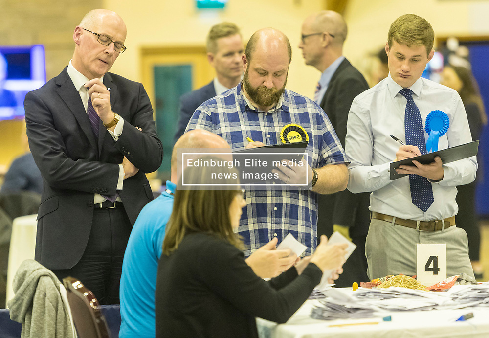 The count for the UK Parliamentary General Election 2017 for the Perth & North Perthshire Constituency takes place at Bell's Sports Centre in Perth.<br /> <br /> The four candidates standing for the seat are Peter Barrett (Scottish Liberal Democrats), Ian Duncan (Scottish Conservatives), David Roemmele (Scottish Labour) and Pete Wishart (SNP)<br /> <br /> Pictured: John Swinney MSP watching the count at Perth & North Perthshire