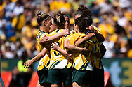 SYDNEY, AUSTRALIA - NOVEMBER 09: Matildas celebrate the goal of Sam Kerr during the International friendly soccer match between Matildas and Chile on November 09, 2019 at Bankwest Stadium in Sydney, Australia. (Photo by Speed Media/Icon Sportswire)