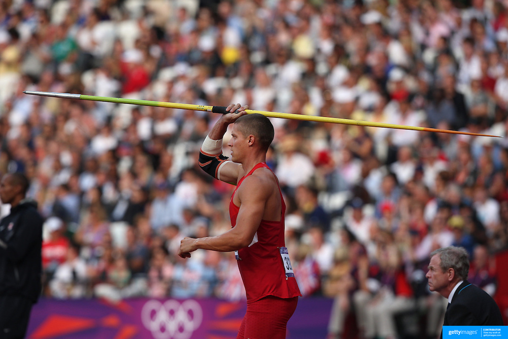 Trey Hardee, USA, in action in the Javelin during his Silver Medal performance in the Men's Decathlon at the Olympic Stadium, Olympic Park, during the London 2012 Olympic games. London, UK. 9th August 2012. Photo Tim Clayton