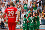 STOCKHOLM, SWEDEN - MAY 16: Players of Hammarby celebrates after Nikola Djurdjic of Hammarby has scored to 1-1 during the Allsvenskan match between Hammarby IF and Malmo FF at Tele2 Arena on May 16, 2018 in Stockholm, Sweden. Photo by Nils Petter Nilsson/Ombrello ***BETALBILD***