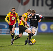 Dundee&rsquo;s Craig Wighton takes on Partick Thistle's Daniel Devine - Partick Thistle v Dundee in the Ladbrokes Scottish Premiership at Firhill, Glasgow - Photo: David Young, <br /> <br />  - &copy; David Young - www.davidyoungphoto.co.uk - email: davidyoungphoto@gmail.com