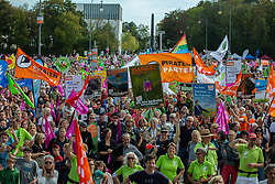 October 6, 2018 - Munich, Bavaria, Germany - Several thousand people demonstrated for a greener farming, against industrial livestock farming, a third runway for the Munich Airport and other green topics. On 6 October 2018 in Munich, Germany. (Credit Image: © Alexander Pohl/NurPhoto/ZUMA Press)