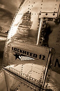 One of two vertical stabilizers on a Lockheed 12A Electra Junior.