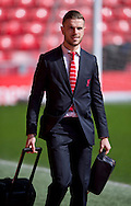 Jordan Henderson of Liverpool arrives at the stadium before the Barclays Premier League match at Anfield, Liverpool<br /> Picture by Russell Hart/Focus Images Ltd 07791 688 420<br /> 22/03/2015