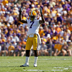 Oct 2, 2010; Baton Rouge, LA, USA; LSU Tigers cornerback Patrick Peterson (7) pumps up the crowd during the first half against the Tennessee Volunteers at Tiger Stadium.  Mandatory Credit: Derick E. Hingle
