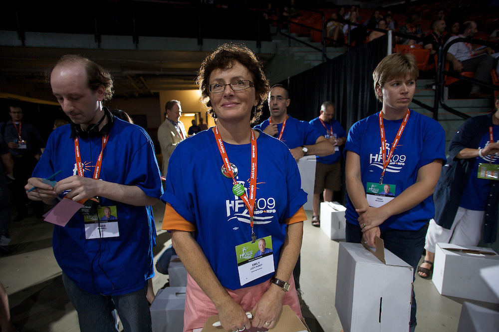 New Democratic Party of Canada members gather in Halifax, Nova Scotia for the party's 2009 national convention.