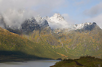 Cloud cover on mountains Lofoten Islands Norway