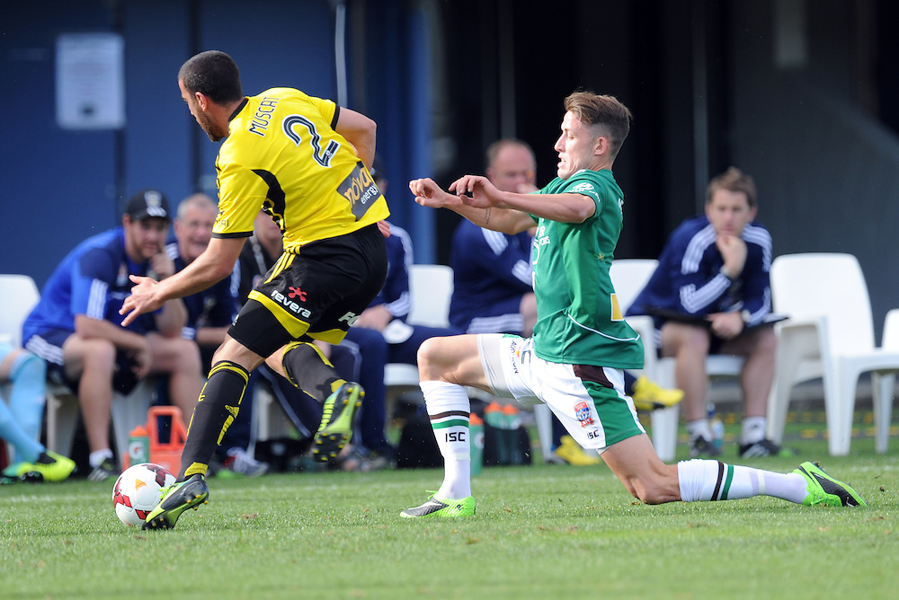 Phoenixs' Manny Muscat, left and Newcastle Jets' Adam Taggart contest the ball in the A-League football match at McLean Park, Napier, New Zealand, Sunday, October 27, 2013. Credit:SNPA / Ross Setford