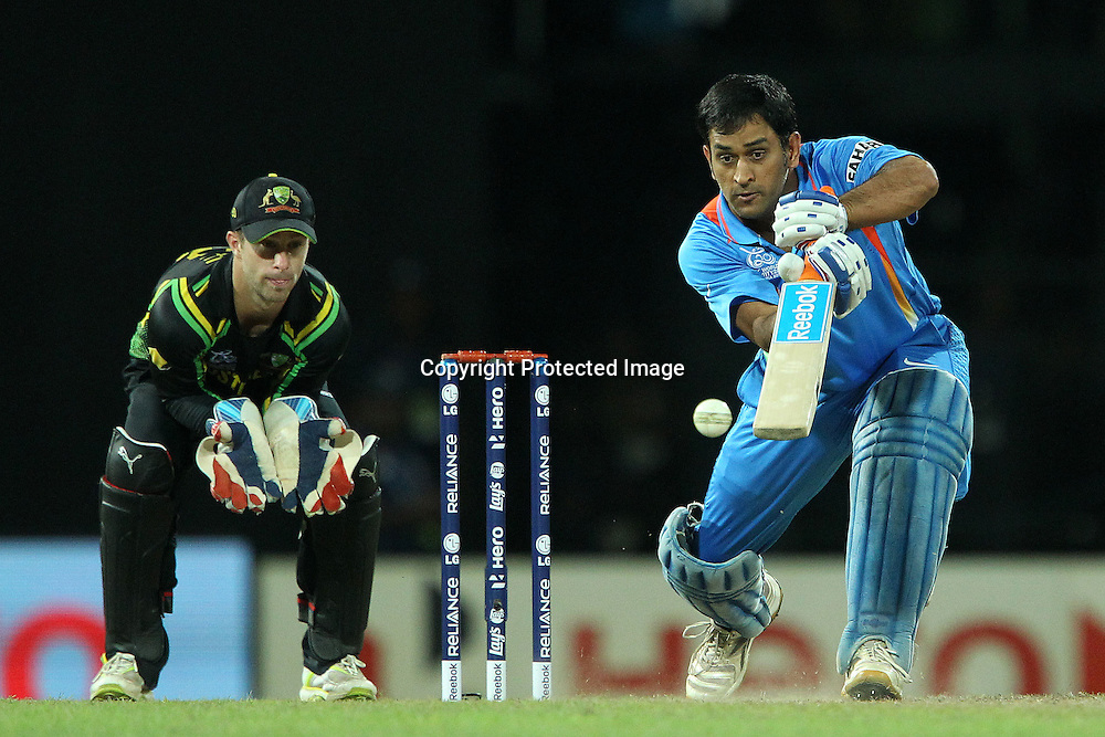 Mahendra Singh Dhoni (Captain) during the ICC World Twenty20 Super 8s match between Australia and India held at the Premadasa Stadium in Colombo, Sri Lanka on the 28th September 2012<br /> <br /> Photo by Ron Gaunt/SPORTZPICS