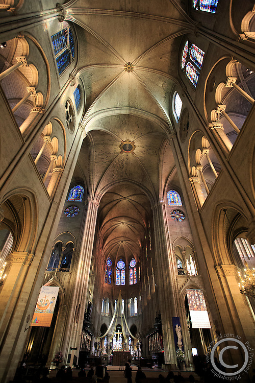 The interior of the Notre Dame Cathedral in Paris, France