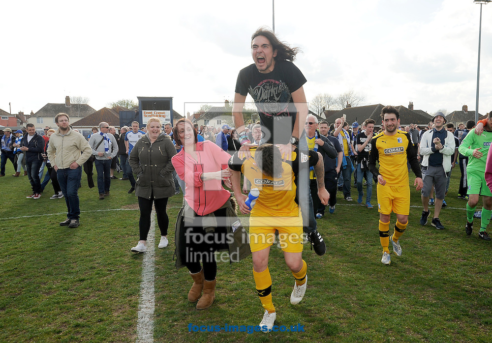 Barrow celebrate winning the Conference North championship at Crown Meadow, Lowestoft<br /> Picture by Rob Howarth/Focus Images Ltd 07768 285551<br /> 25/04/2015<br /> 25/04/2015