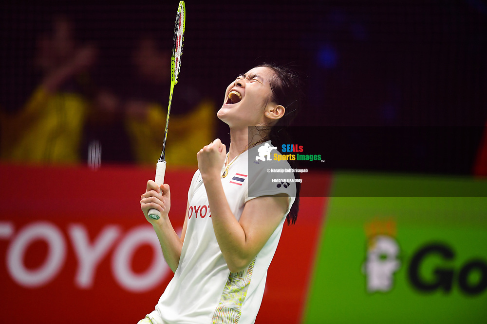 BANGKOK, THAILAND - MAY 25: Busanan Ongbamrungphan of Thailand reaction on Court 1 during her Semi-Finals match against Li Xuerui of China at the BWF Total Thomas and Uber Cup Finals 2018, Impact Arena , Bangkok, Thailand on May 25, 2018.<br /> .<br /> .<br /> .<br /> Photo by: Naratip Golf Srisupab/SEALs Sports Images<br /> <br /> .<br /> All photo must include a credit line adjacent to the content: Naratip Golf Srisupab/SEALs Sports Images