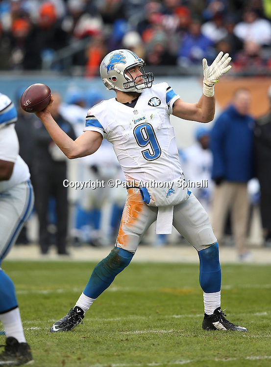 Detroit Lions quarterback Matthew Stafford (9) throws a 36 yard touchdown pass good for a 17-10 third quarter Lions lead during the NFL week 17 regular season football game against the Chicago Bears on Sunday, Jan. 3, 2016 in Chicago. The Lions won the game 24-20. (©Paul Anthony Spinelli)
