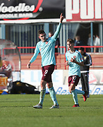 30th September 2017, Dens Park, Dundee, Scotland; Scottish Premier League football, Dundee versus Hearts; Hearts' Kyle Lafferty celebrates after scoring his side's equaliser for 1- in their 2-1 defeat at Dundee