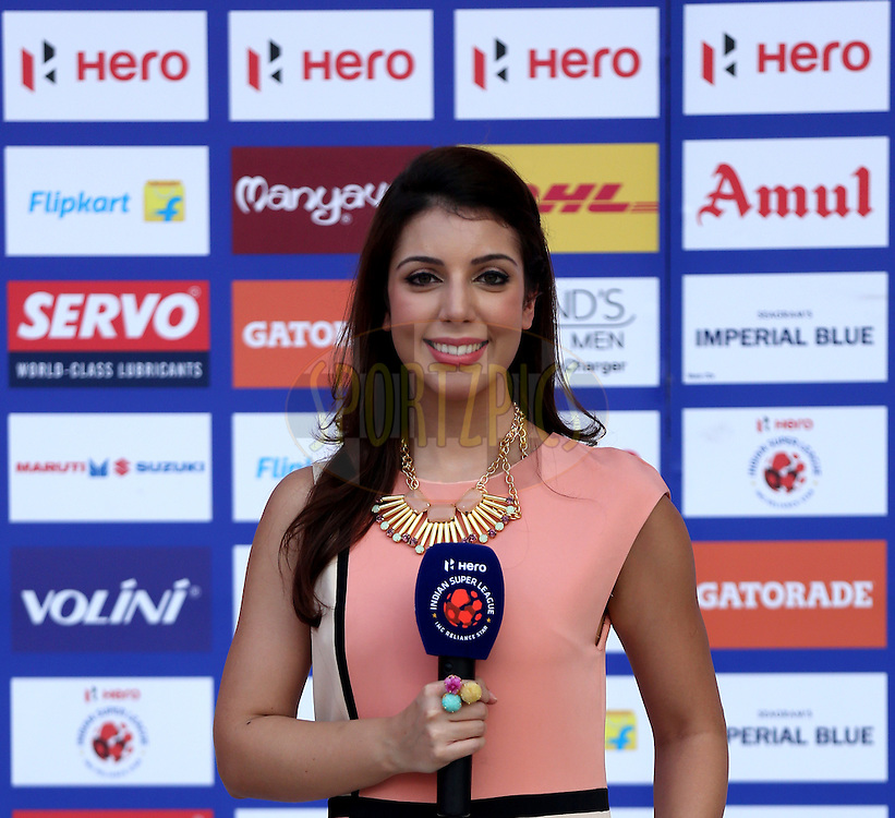 Star sports presentor during match 13 of the Indian Super League (ISL) season 2  between Mumbai City FC and Chennaiyin FC held at the D.Y. Patil Stadium, Navi Mumbai, India on the 16th October 2015.<br /> <br /> Photo by Sandeep Shetty / ISL/ SPORTZPICS