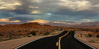A winding road through the rock formations of the Valley of Fire State Park in Nevada