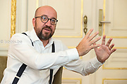 Brussels , 13/09/2018 : Prime Minister of Belgium , Charles Michel in his office .<br /> Credit : Didier Bauweraerts / Isopix  *** local caption *** 00042301