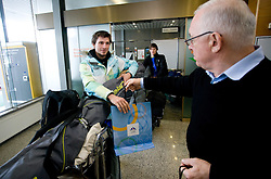 Slovenian ski jumper Robert Kranjec and Ivo Tomc of OKS at arrival to Airport Joze Pucnik from Vancouver after Winter Olympic games 2010, on February 24, 2010 in Brnik, Slovenia. (Photo by Vid Ponikvar / Sportida)