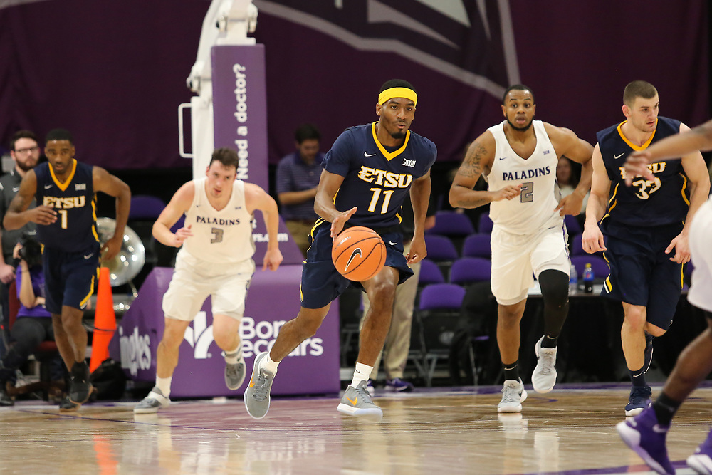 January 18, 2018 - Greenville, South Carolina - Timmons Arena: ETSU guard Devontavius Payne (11)<br />