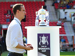 Bristol Academy manager, Mark Sampson walks past the FA Cup - Photo mandatory by-line: Joseph Meredith/JMP - Tel: Mobile: 07966 386802 - 26/05/2013 - SPORT - FOOTBALL - Keepmoat Stadium - Doncaster . Arsenal Ladies v Bristol Academy WFC - The FA Women's Cup.