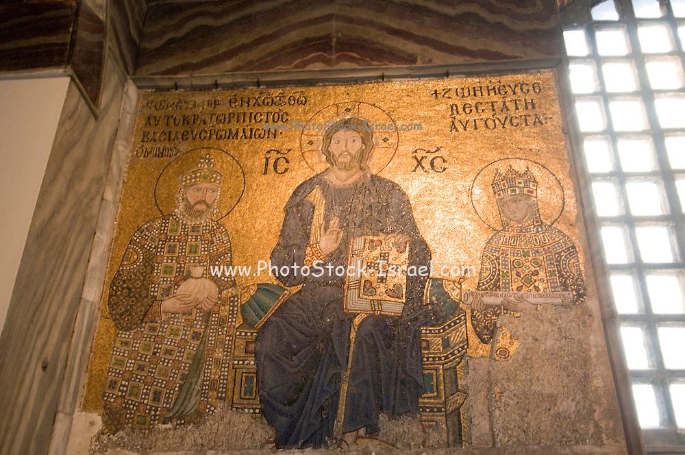 Turkey, Istanbul, Interior of the Hagia Sophia Museum religious Mosaic art. Jesus Christ enthroned 11th Century CE