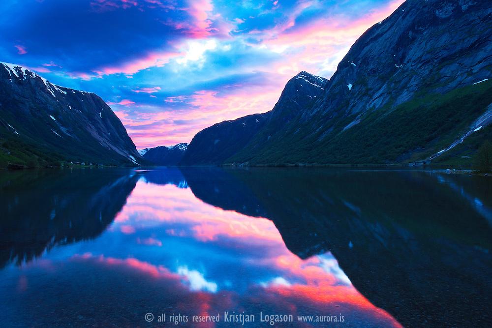 Midnight sun at Jølster Lake in Sogn og fjordane Norway