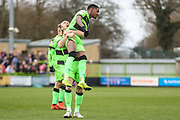 Forest Green Rovers Reece Brown(10) scores a goal 1-0 and celebrates with Forest Green Rovers Joseph Mills(23) during the EFL Sky Bet League 2 match between Forest Green Rovers and Lincoln City at the New Lawn, Forest Green, United Kingdom on 2 March 2019.
