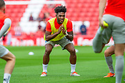 Ellis Harrison (#22) of Portsmouth FC during the warm up before the EFL Sky Bet League 1 match between Sunderland and Portsmouth at the Stadium Of Light, Sunderland, England on 17 August 2019.