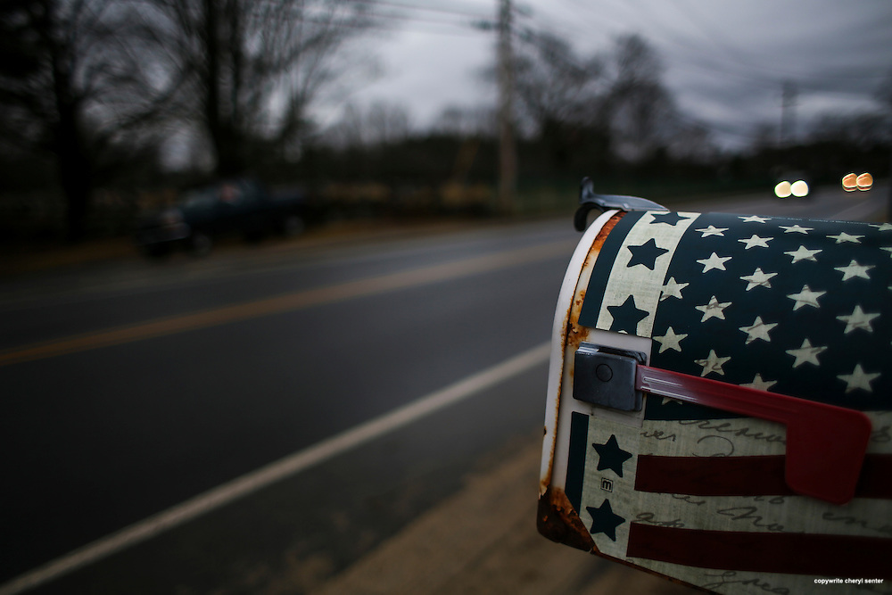 A patriotic mailbox in Pelham, New Hampshire, Thursday, Feb. 4, 2016.  CREDIT: Cheryl Senter for The New York Times