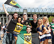 Northampton Saints supporters enjoy the atmosphere before the Aviva Premiership final at Twickenham Stadium, Twickenham<br /> Picture by Andrew Tobin/Focus Images Ltd +44 7710 761829<br /> 31/05/2014