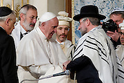 Rome jan 17th 2016, the pope meets the roman Synagogue. In the picture pope Francis greets a israelian rabbi