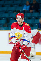 KAMLOOPS, CANADA - NOVEMBER 5:  Alexeyev, Alexander #4 of Team Russia warms up against the Team WHL on November 5, 2018 at Sandman Centre in Kamloops, British Columbia, Canada.  (Photo by Marissa Baecker/Shoot the Breeze)