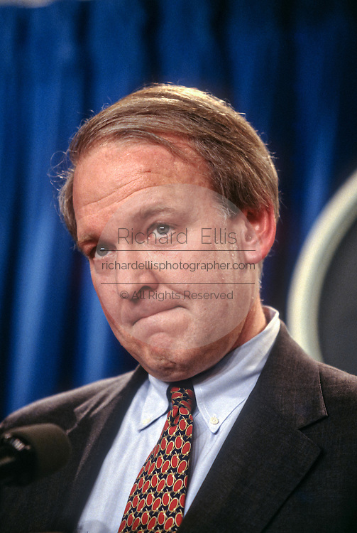 White House press secretary Michael McCurry answers reporters questions on the Monica Lewinsky scandal January 25, 1998 at the briefing room of the White House in Washington, DC.