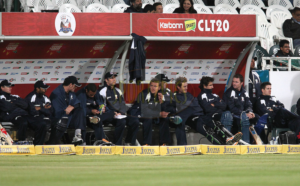 The Auckland Aces dug out during match 5 of the Karbonn Smart CLT20 South Africa between The Kolkata Knight Riders and The Auckland Aces held at Newlands Stadium in Cape Town, South Africa on the 15th October 2012..Photo by Shaun Roy/SPORTZPICS/CLT20