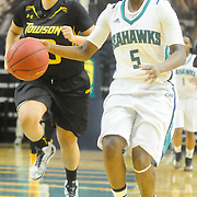 UNCW's Shatia Cole drives against Towson Sunday January 25, 2015 at Trask Coliseum. (Jason A. Frizzelle)