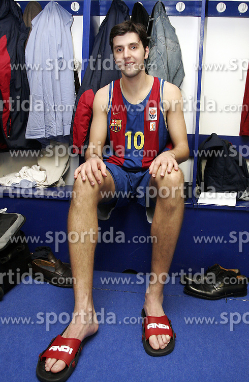 Dejan Bodiroga of Barcelona in wardrobe after the Euroleague basketball match between KK Union Olimpija and Barcelona, on November 11, 2004, in Hala Tivoli, Ljubljana, Slovenia. (Photo By Vid Ponikvar / Sportida.com)