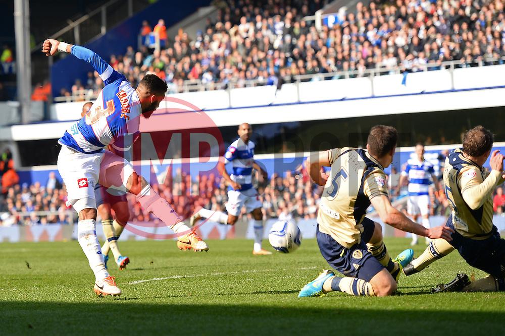 QPR's Armand Traore takes a shot at goal - Photo mandatory by-line: Mitchell Gunn/JMP - Tel: Mobile: 07966 386802 01/03/2014 - SPORT - FOOTBALL - Loftus Road - London - Queens Park Rangers v Leeds United - Championship
