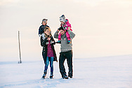 Family, Children, Carrying on Shoulders, Bonding, Snowy Landscape,