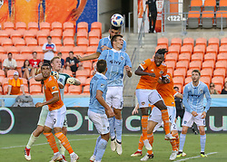 July 18, 2018 - Houston, TX, U.S. - HOUSTON, TX - JULY 18:  Sporting Kansas City midfielder Graham Smith (16) heads the ball during the US Open Cup Quarterfinal soccer match between Sporting KC and Houston Dynamo on July 18, 2018 at BBVA Compass Stadium in Houston, Texas. (Photo by Leslie Plaza Johnson/Icon Sportswire) (Credit Image: © Leslie Plaza Johnson/Icon SMI via ZUMA Press)