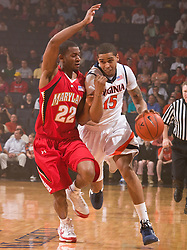 Virginia guard Sylven Landesberg (15) is guarded by Maryland guard Adrian Bowie (22).  The Virginia Cavaliers defeated the Maryland Terrapins 68-63 at the John Paul Jones Arena on the Grounds of the University of Virginia in Charlottesville, VA on March 7, 2009.