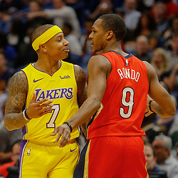Feb 14, 2018; New Orleans, LA, USA; Los Angeles Lakers guard Isaiah Thomas (7) and New Orleans Pelicans guard Rajon Rondo (9) bump into each other during the first quarter at the Smoothie King Center. Mandatory Credit: Derick E. Hingle-USA TODAY Sports