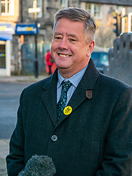 Pictured: Keith Brown, SNP Depute Leader.<br /> <br /> Loanhead, Midlothian, Scotland, United Kingdom, 18 November 2019. General Election campaigning:  SNP Depute Leader Keith Brown MSP joins Owen Thomson, SNP candidate for Midlothian, on the campaign trail at Fountain Green, Loanhead. <br /> <br /> Sally Anderson | EdinburghElitemedia.co.uk