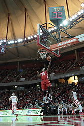15 February 2014:  Walt Lemon, Jr. sails in for a lay up virtually all by himself and uncontested during an NCAA Missouri Valley Conference (MVC) mens basketball game between the Bradley Braves and the Illinois State Redbirds  in Redbird Arena, Normal IL.