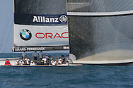 United States team BMW Oracle Racing tests wind and sails in prestart maneuvers during America's Cup international sailing yacht race; Valencia, Spain.