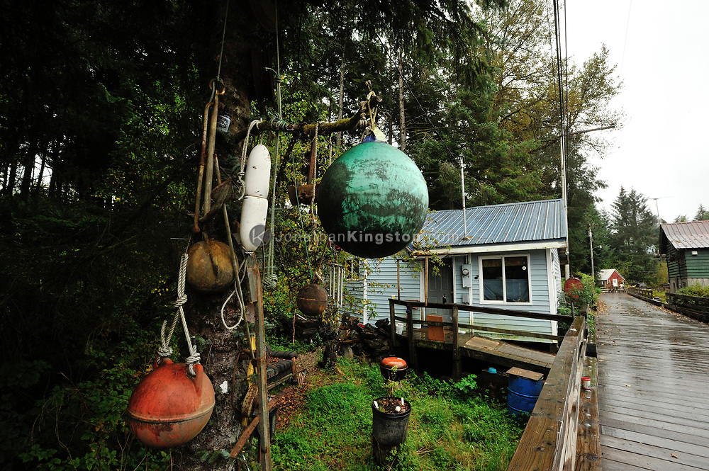 Fishing floats hang from a tree branch along the boardwalk in Petersburg, Alaska.