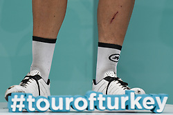 October 14, 2018 - Istanbul, Turkey - Legs of Jean-Pierre Drucker of Luxembourg and BMC Racing Team - during the Awards Ceremony of the sixth stage - the Salcano Stage 166.7km from Bursa to Istanbul, of the 54th Presidential Cycling Tour of Turkey 2018. .On Sunday, October 14, 2018, in Istanbul, Turkey. (Credit Image: © Artur Widak/NurPhoto via ZUMA Press)