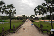 Early morning over the walkway leading towards Angkor Wat.