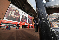 LIVERPOOL, ENGLAND - Tuesday, March 17, 2020: A padlock on a gate at a near deserted Anfield, home of Champions-elect Liverpool Football Club, after the suspension of all football due to the Coronavirus (COVID-19) and Liverpool's decision to close it's Boot Room cafe and official stores. (Pic by David Rawcliffe/Propaganda)