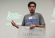 Trevor Wall gives his pitch at Startup Weekend Athens at the Ohio University Innovation Center on March 18, 2016. Taylor came in second overall.